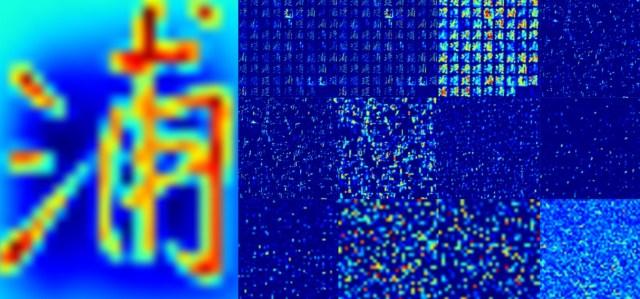 Japanski karakter s leve strane filteruje se kroz slojeve neuronske mreže osvetljavajući potencijalna uklapanja sve dok se napokon jedan piksel na finalnom sloju ne ukaže svetliji od ostalih. Izvor: Reactive/Bloomberg