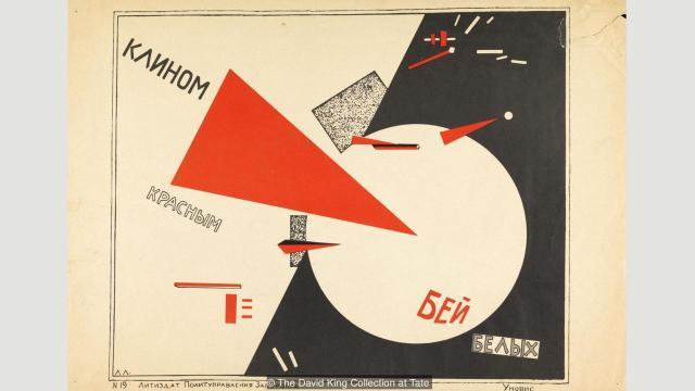 """Propagandna litografija El Lisickog u kojoj je prikazao građanski rat i Oktobarsku revoluciju, """"Potucimo Bele crvenim klinom"""" (1920) jedan je od najslavnijih prikaza sovjetske umetnosti"""
