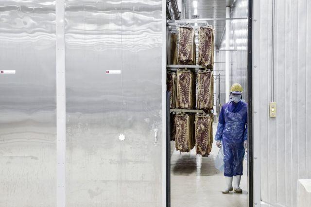 Radnik kod stalaža uvezene svinjetine na proizvodnoj liniji u Žengdžouu, Kina, 13. april (Qilai Shen/Bloomberg)