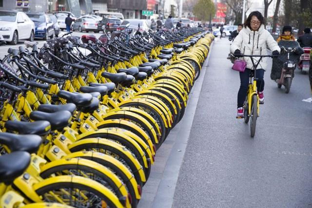 19. Bicikli šering-bajk servisa Ofo, uredno poređanih na parčetu kolovoza u Pekingu (23. nov 2017, TPG/ Getty)