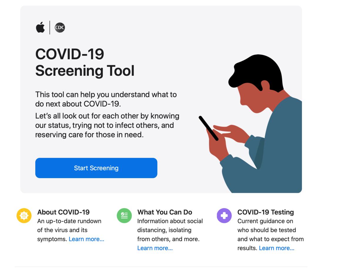 Después del brote del COVID-19, Apple publicó una App de screening y recomendaciones basadas en la CDC.