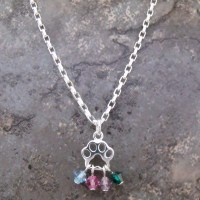 Paw Print Multiple Crystal Birthstone Necklace