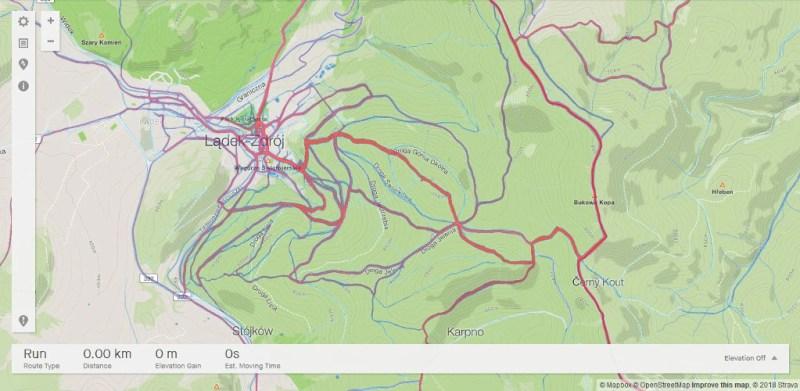 Strava Heat Map - Lądek Zdrój