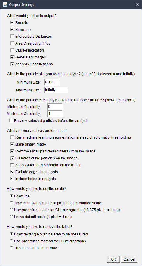 Settings specifications