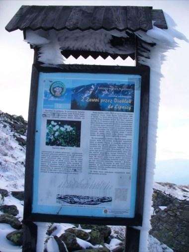 tablica informacyjna pod szczytem diablaka, babiogórski park narodowy