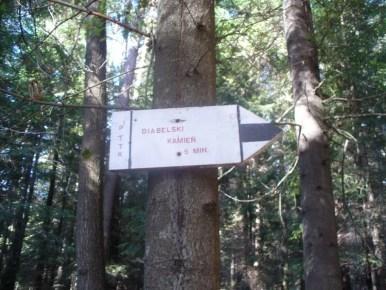 tabliczka wskazująca drogę do diabelskiego kamienia w okolicy działka w beskidzie makowskim