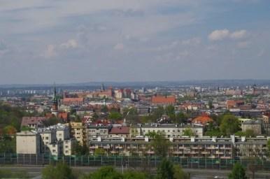 widok z kopca krakusa na wawel i stare miasto w krakowie