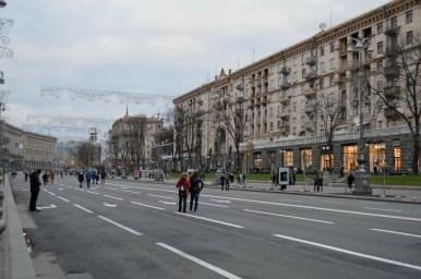 ulica chreszczatyk w kijowie na ukrainie