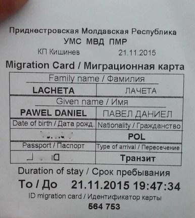 stara wjazdowa karta imigracyjna do republiki naddniestrza