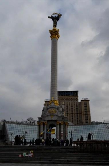figura kateryny na placu niepodległości w kijowie na ukrainie