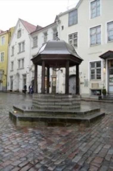 kocia studnia na placu ratuszowym w tallinie w estonii