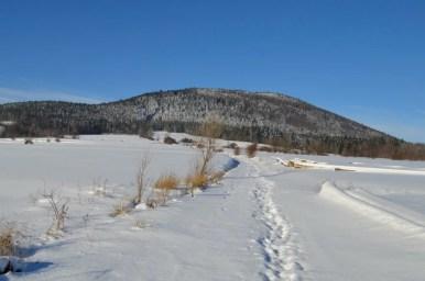 zimowy widok na ćwilin znad jurkowa w beskidzie wyspowym