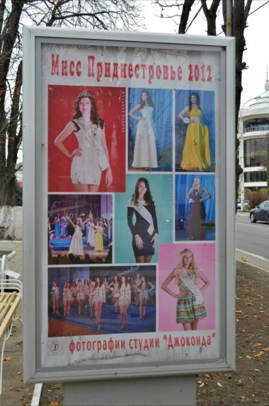 plakat reklamujący wybory miss naddniestrza w tyraspolu