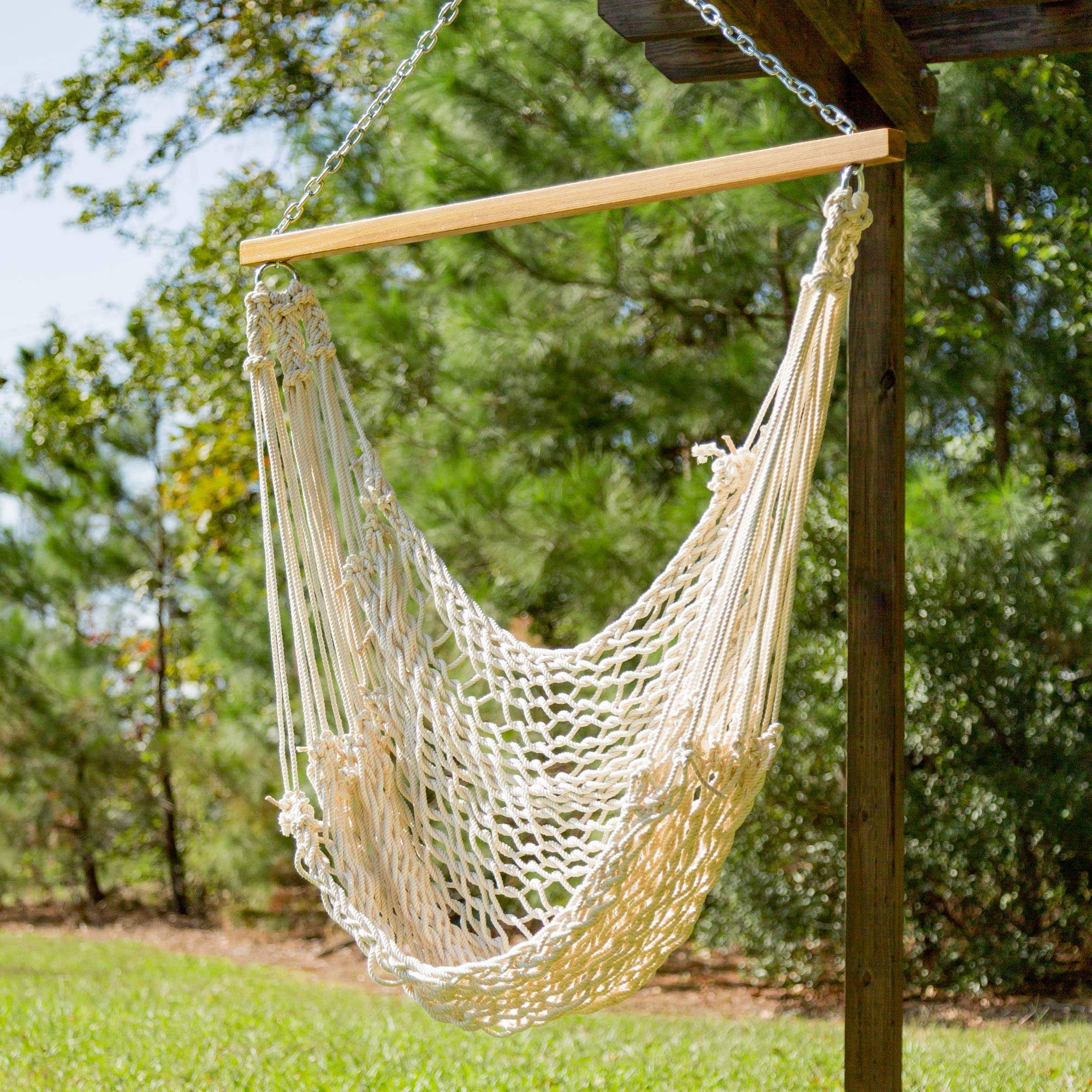 rope chair swing predator hunting pawleys single cotton hammock