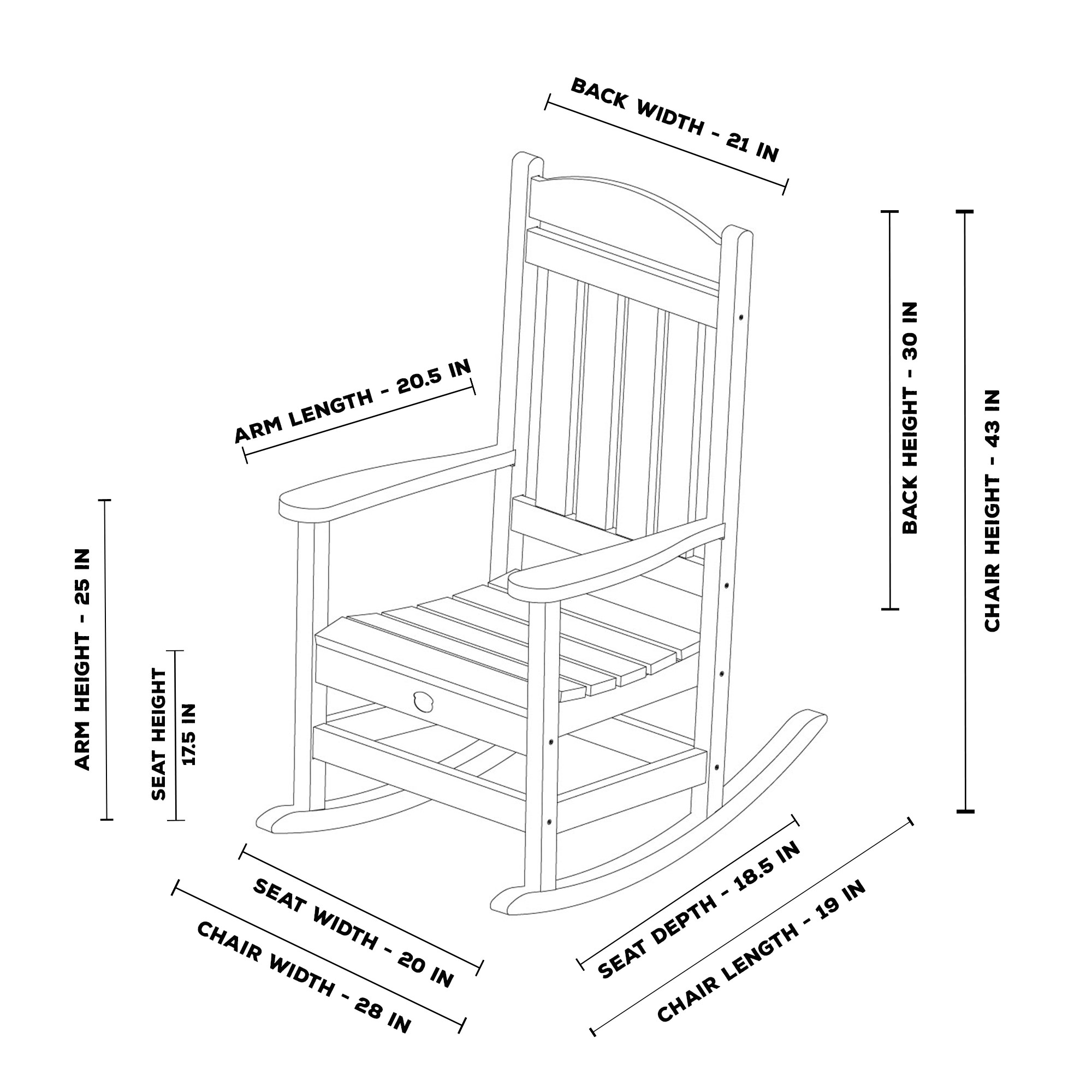rocking chair height parsons dining room chairs durawood porch rocker pawleys island hammocks