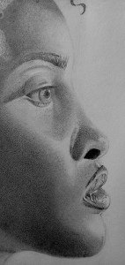 Detailed face drawing. eye, nose, lips . Side view