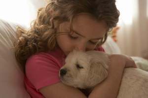 Girl with pup