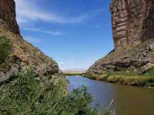 View from just inside Santa Elena Canyon (we took turns staying with the pups)
