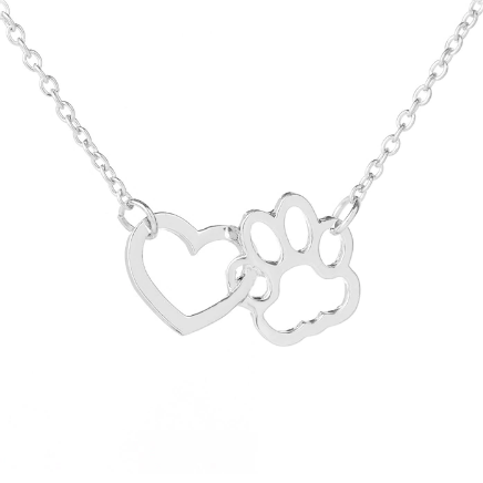 paw on my heart necklace silver