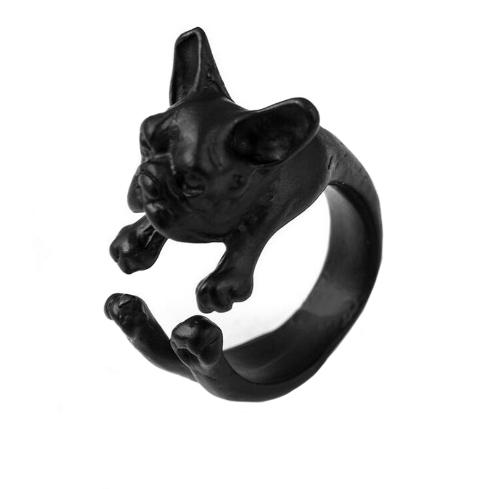French bulldog ring in black