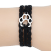 paw-print silver charm and black leather bracelet