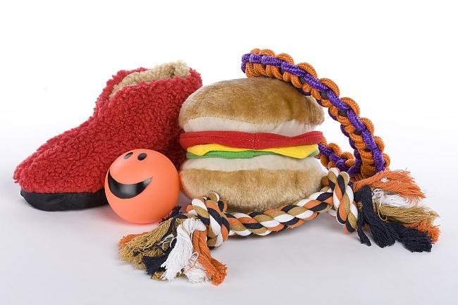 variety of dog toys