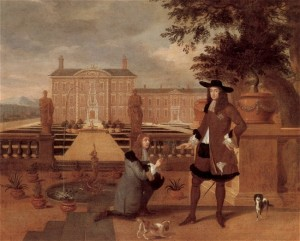 (King Charles II pictured here with his two spaniel dogs. Painting by Hendrik Danckerts – 1675)