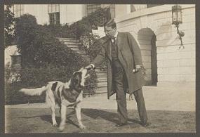 Theodore with Rollo the Saint Bernard (Harvard University)
