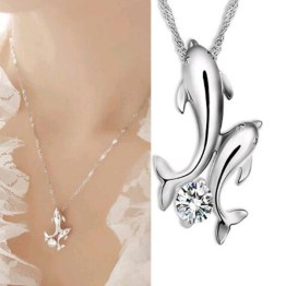 Double Dolphin Necklace