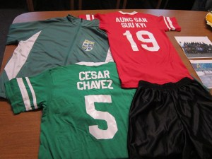 Peacemaker jerseys for the soccer players