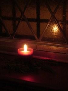 Candle reflecting