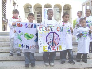 Kids with peace signs