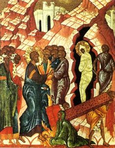 The Raising of Lazarus — 15th century. Novgorod school. 72 x 60 cm. The Russian Museum, St. Petersburg, Russia