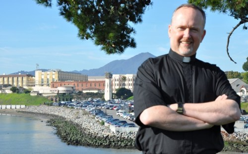 Fr. George Williams, S.J. at San Quentin State Prison in California.
