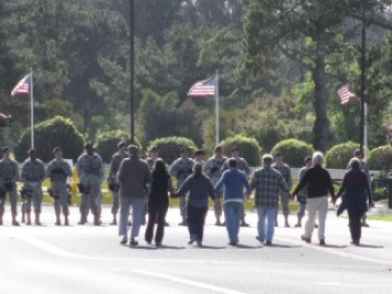 Pax Christi Northern California members participated in the Pacific Life Community action at Vandenburg Air Force Base.