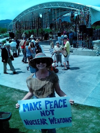 PC FL coordinator Nancy O'byrne photo at CNV Sackcloth & Ashes demo in NM.