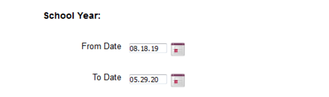 View of the school year calendar for the duplicate purchase feature.