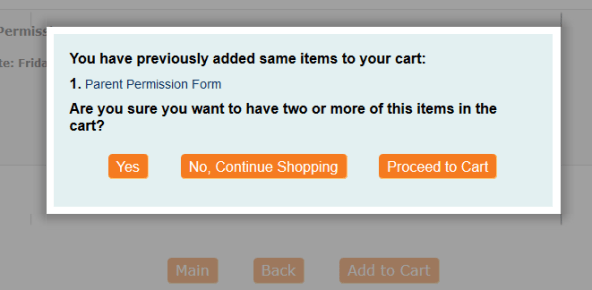 Parent view of the duplicate purchase alert pop-up