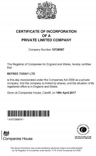 BeFree Today регистрация компании