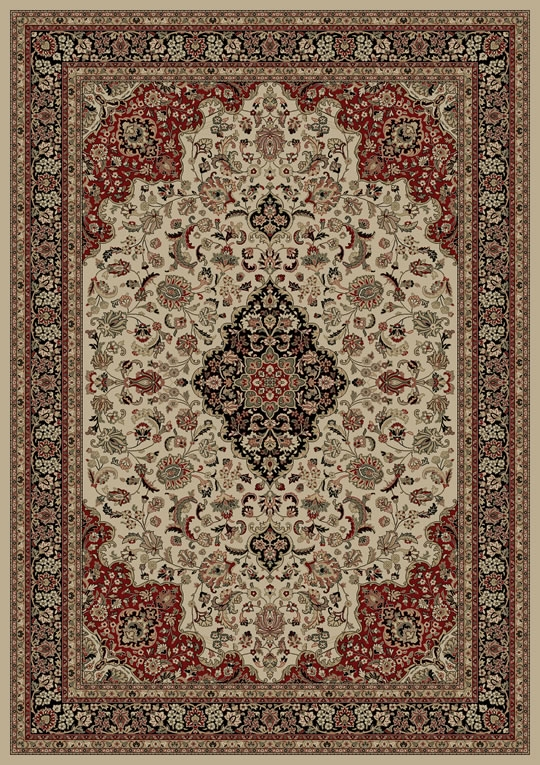 Hall Green Oriental Rugs Concord Persian Classics 2082 Medallion Kashan Ivory Area Rug