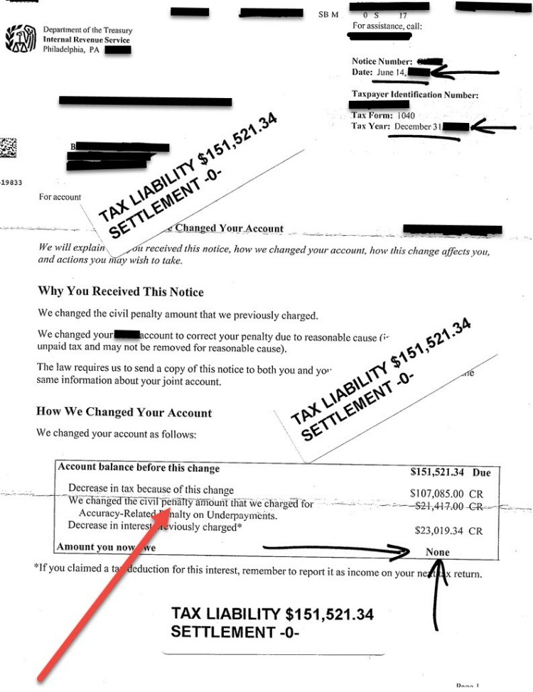 Actual IRS Penalty Abatement Letter for Betty - 152k Abated
