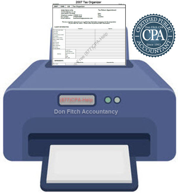 2007 Tax Organizer - Click on the above to Download the 2007 Tax Organizer in pdf format