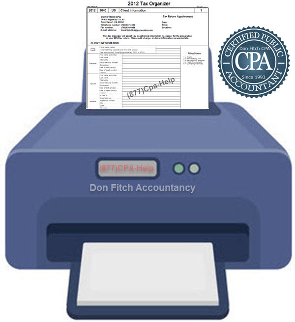 2012 Tax Organizer - Click on the above to Download the 2012 Tax Organizer in pdf format