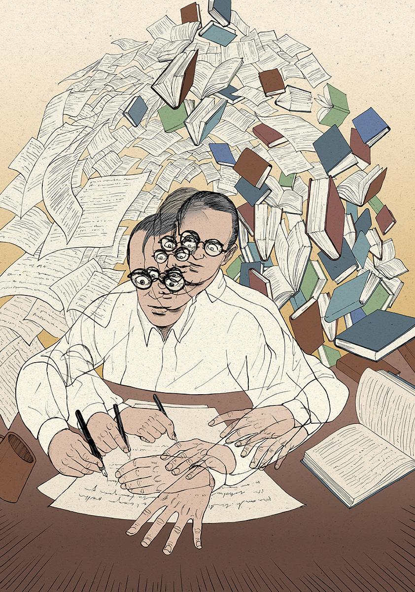 """Ilustración de Nicolás Castell para """"Borges. El sueño infinito""""."""