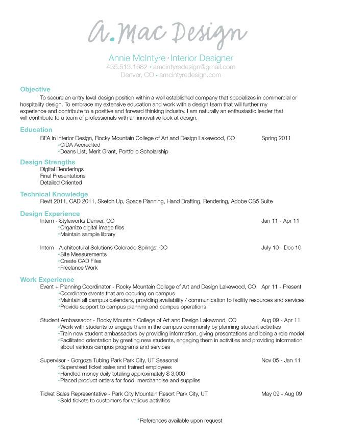 Interior designers resume sample  writerstablewebfc2com