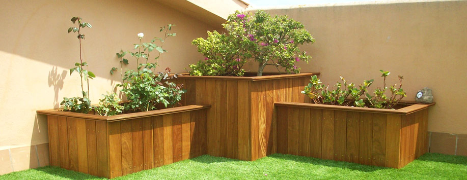 Trabajos con madera  Paisajismo Arteche Jardinera