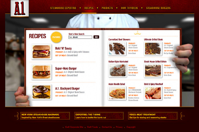 Kraft A1 Steak Sauce  Website  Kristen Schwanz  ACDCopywriter