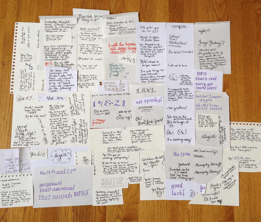 photograph from above of handwritten pages of text messages