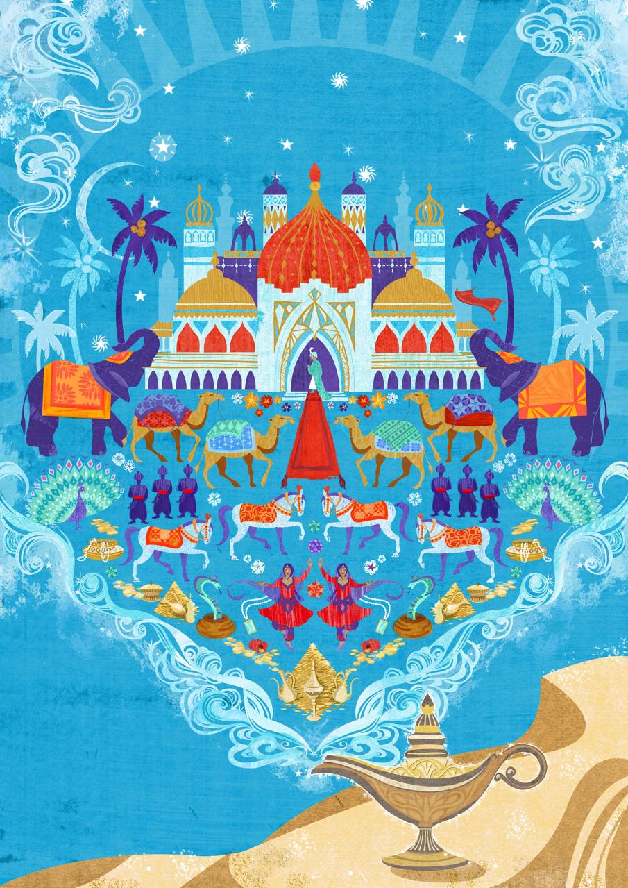 Aladdin Pantomime Poster Caroline Halliwell Illustration