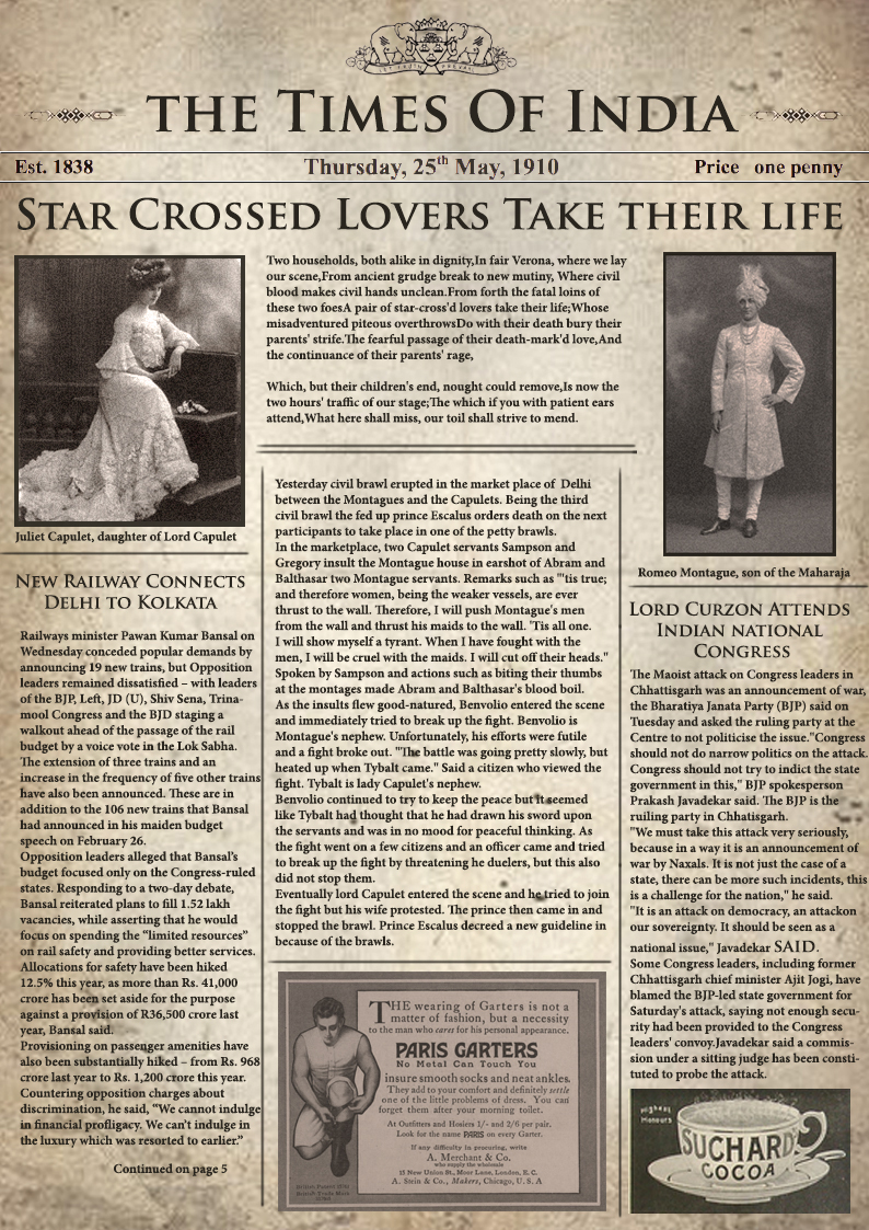 Romeo And Juliet Newspaper Template